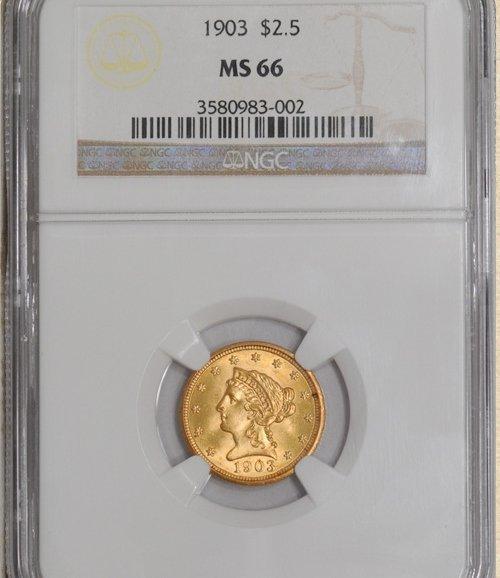 1903 $2.5 Liberty MS66 NGC 923909-05