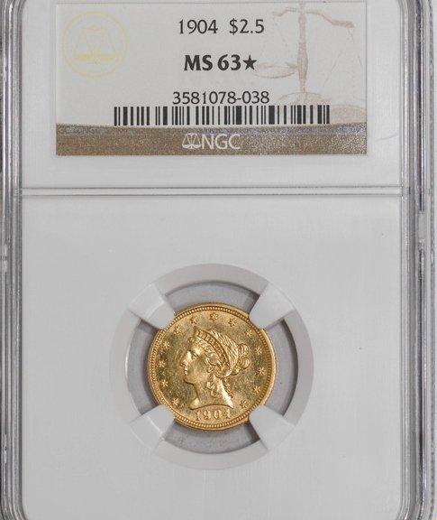 1904 $2.5 Liberty MS63 NGC Star Designation Pop 2! 9245