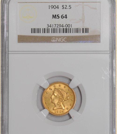 1904 $2.5 Liberty MS64 NGC 924392-01