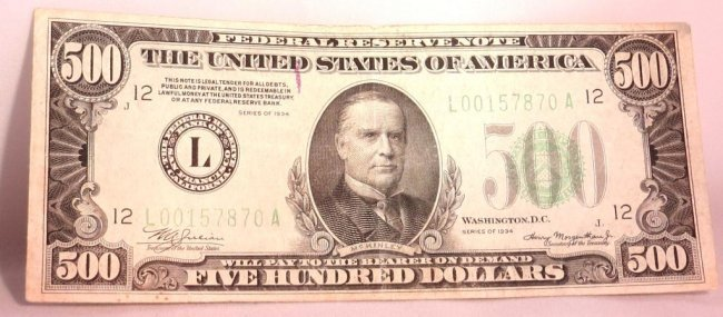 1934 $ 500 FRN Fine Condition