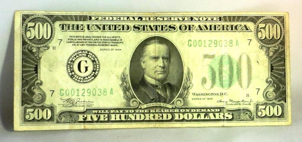 Federal Reserve Note 1934 $ 500 Currency Note
