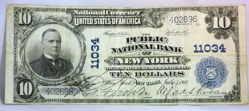 $10 NATIONAL PUBLIC BANK NEW YORK 1917 Issue