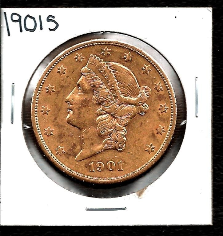 1896 S $20 Liberty Double Eagle Gold Coin