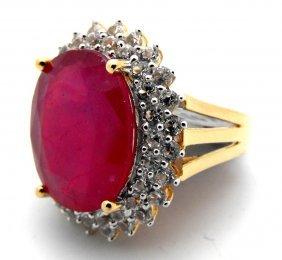 E- $16,885 Ruby & Sapphire Ring 14k G/P over S/S