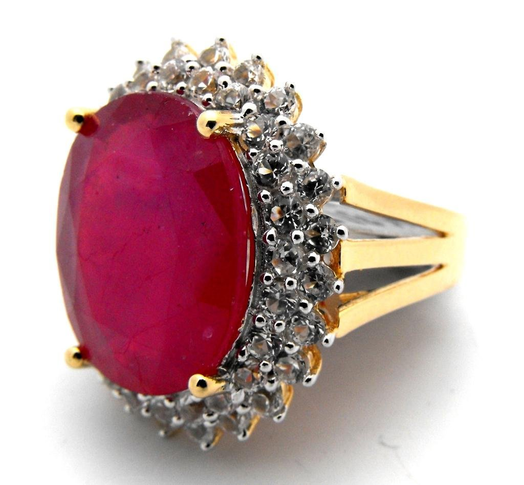 E- $16,885 Ruby & Sapphire Ring 14k G/P over S/S