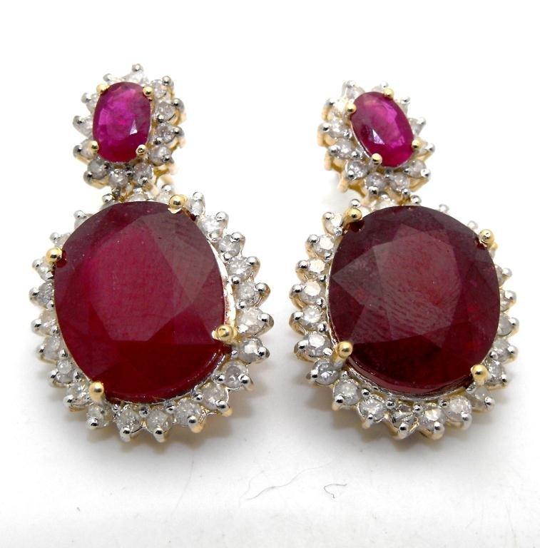 E- $21,707 Ruby & Diamond Earrings 14k YG