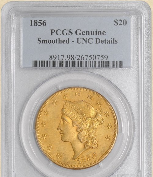 1856 $20 Liberty Genuine PCGS Unc. Details 920508-02