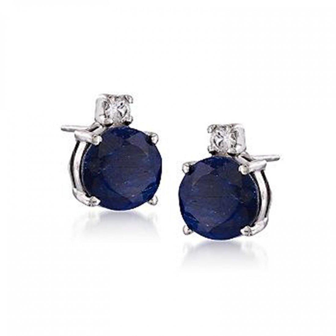 4.80 ct. t.w. Sapphire and .15 ct. t.w. Topaz Stud Earr