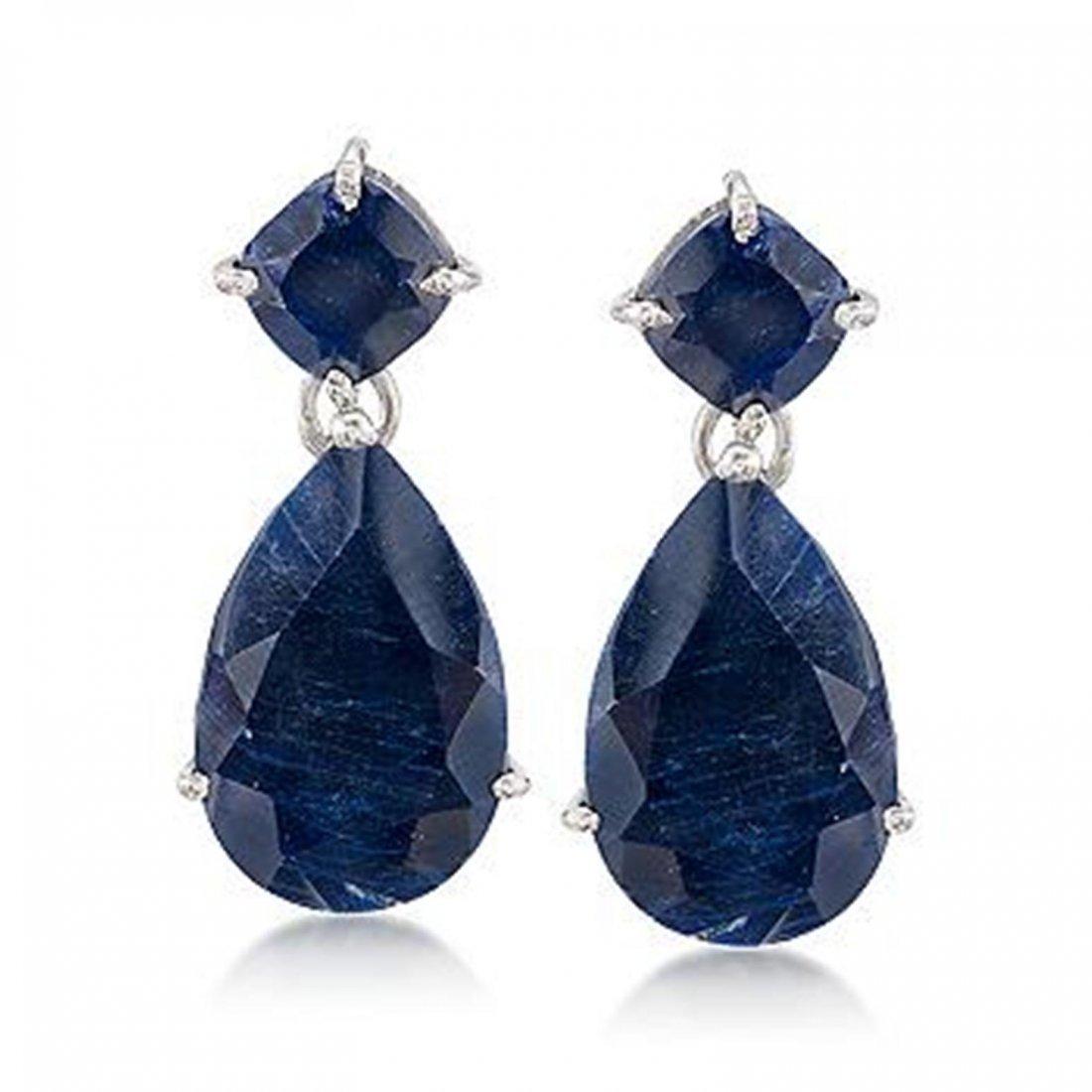 26.50 ct. t.w. Sapphire Earrings in Sterling Silver Ite