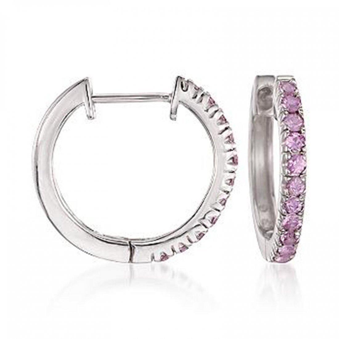 1.10 ct. t.w. Pink Sapphire Hoop Earrings in Sterling S