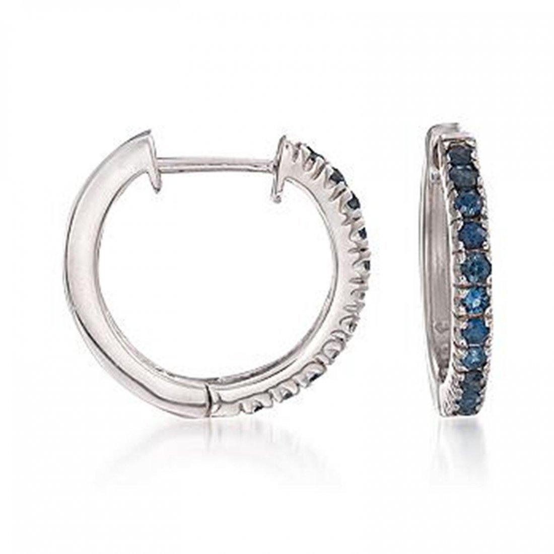 1.10 ct. t.w. Sapphire Hoop Earrings in Sterling Silver