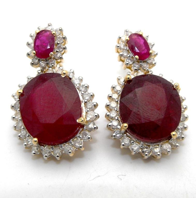 E- $21,707 Ruby & Diamond Earrings 14k YG