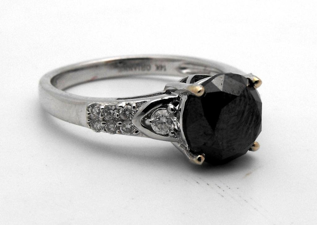 E- $7,570 Fancy Black Diamond Ring 2.86 ct. 14k WG