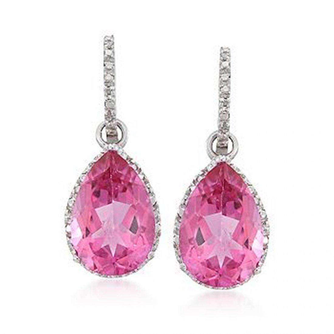 13.00 ct. t.w. Pink Topaz and .12 ct. t.w. Diamond Earr