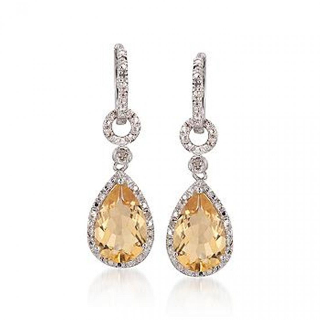 6.00 ct. t.w. Citrine and Diamond Drop Earrings in Ster