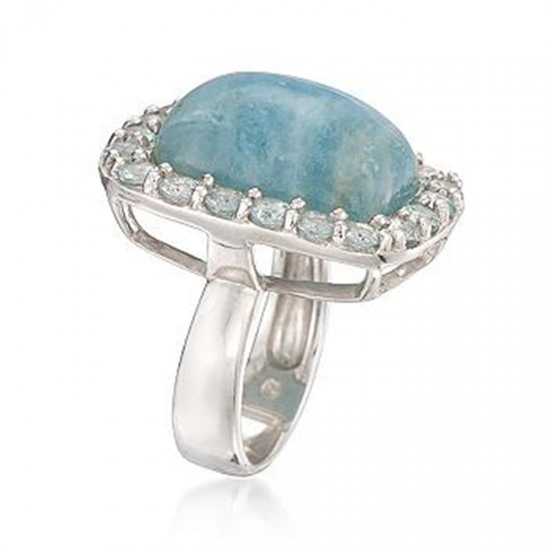 Milky Aquamarine and 2.60 ct. t.w. Blue Topaz Ring in S - 2