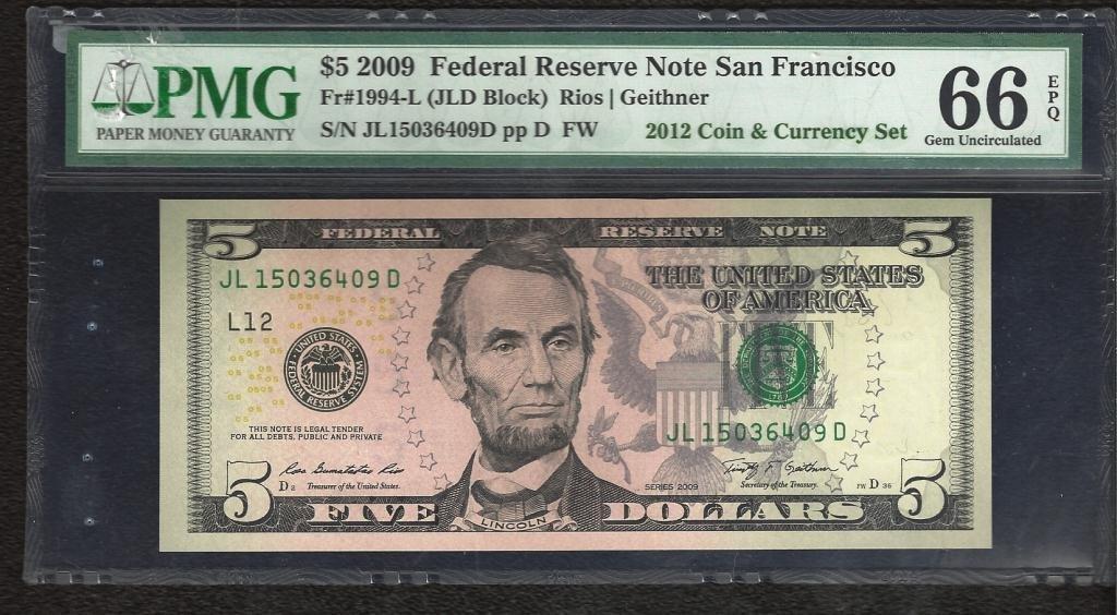 GEM UNC 66 PMG Graded $ 5 Lincoln