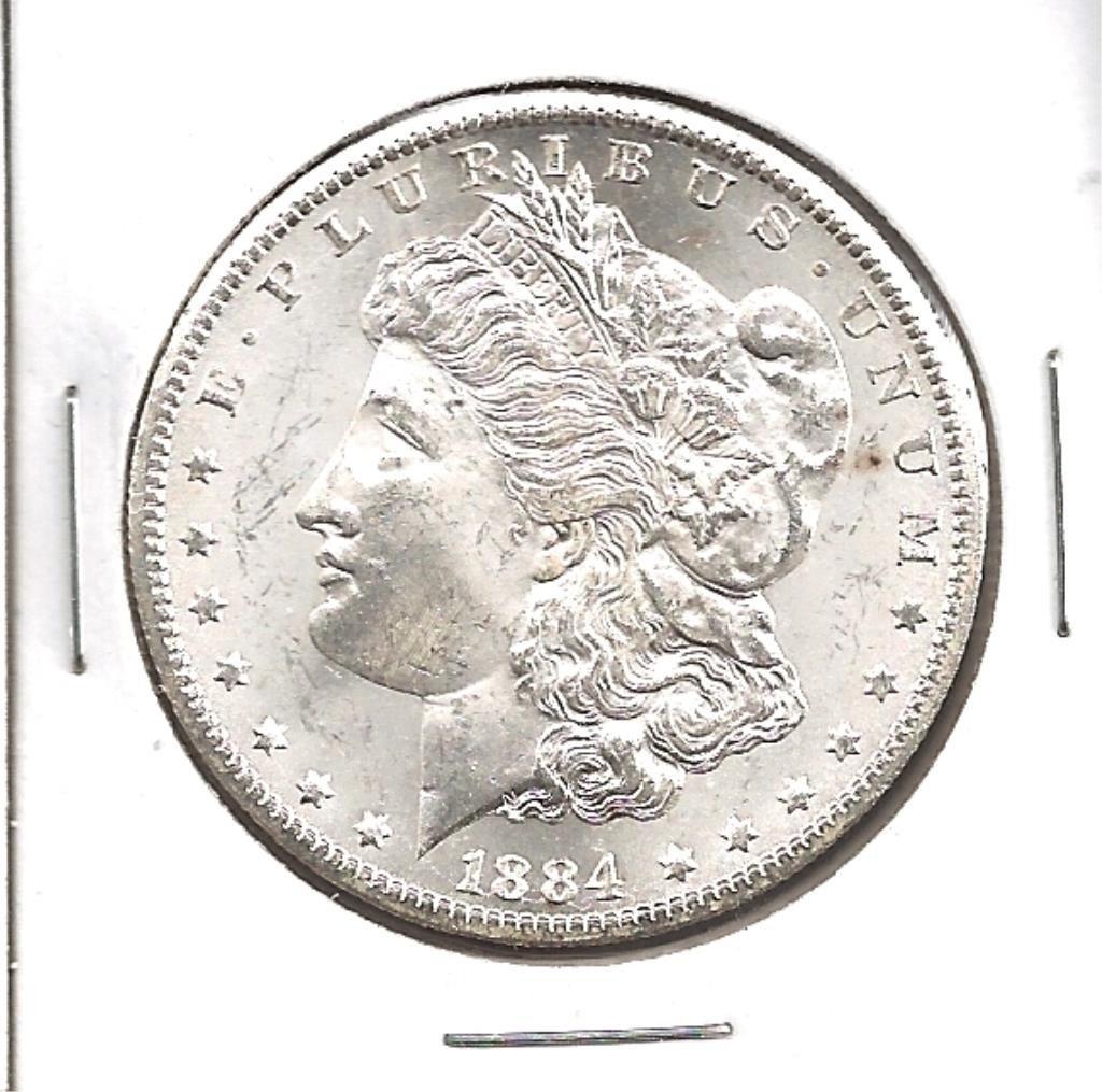 1884 Carson City GEM BU Morgan Silver Dollar