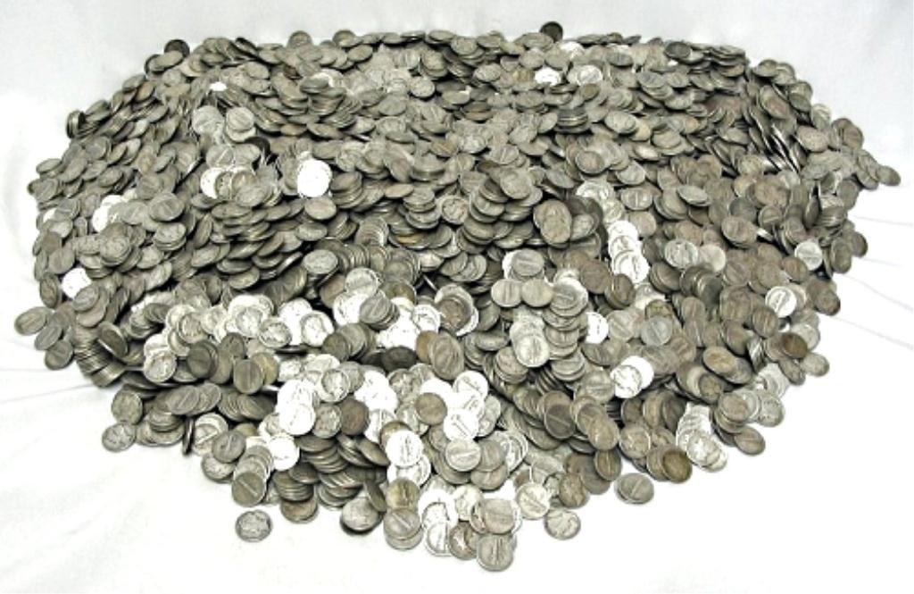 1000 Mercury Dimes - $ 100 Face Value 90% Silver
