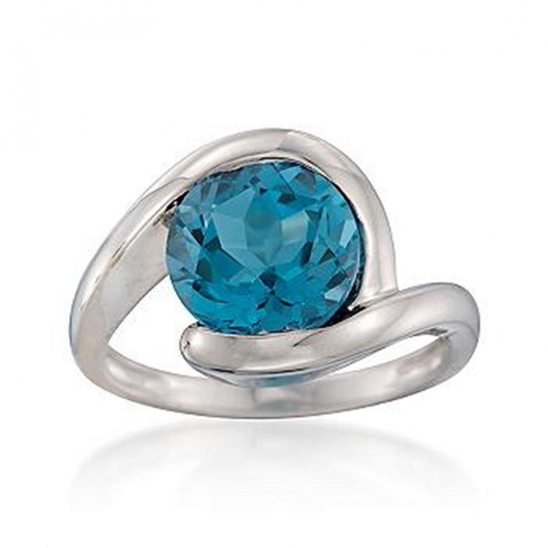 4.20 Carat London Blue Topaz Ring in Sterling Silver