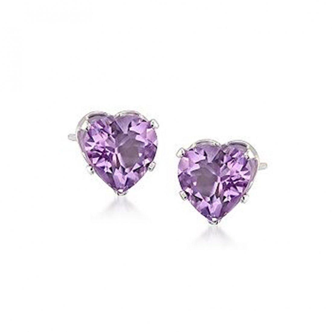 2.00 ct. t.w. Amethyst Heart Stud Earrings in Sterling