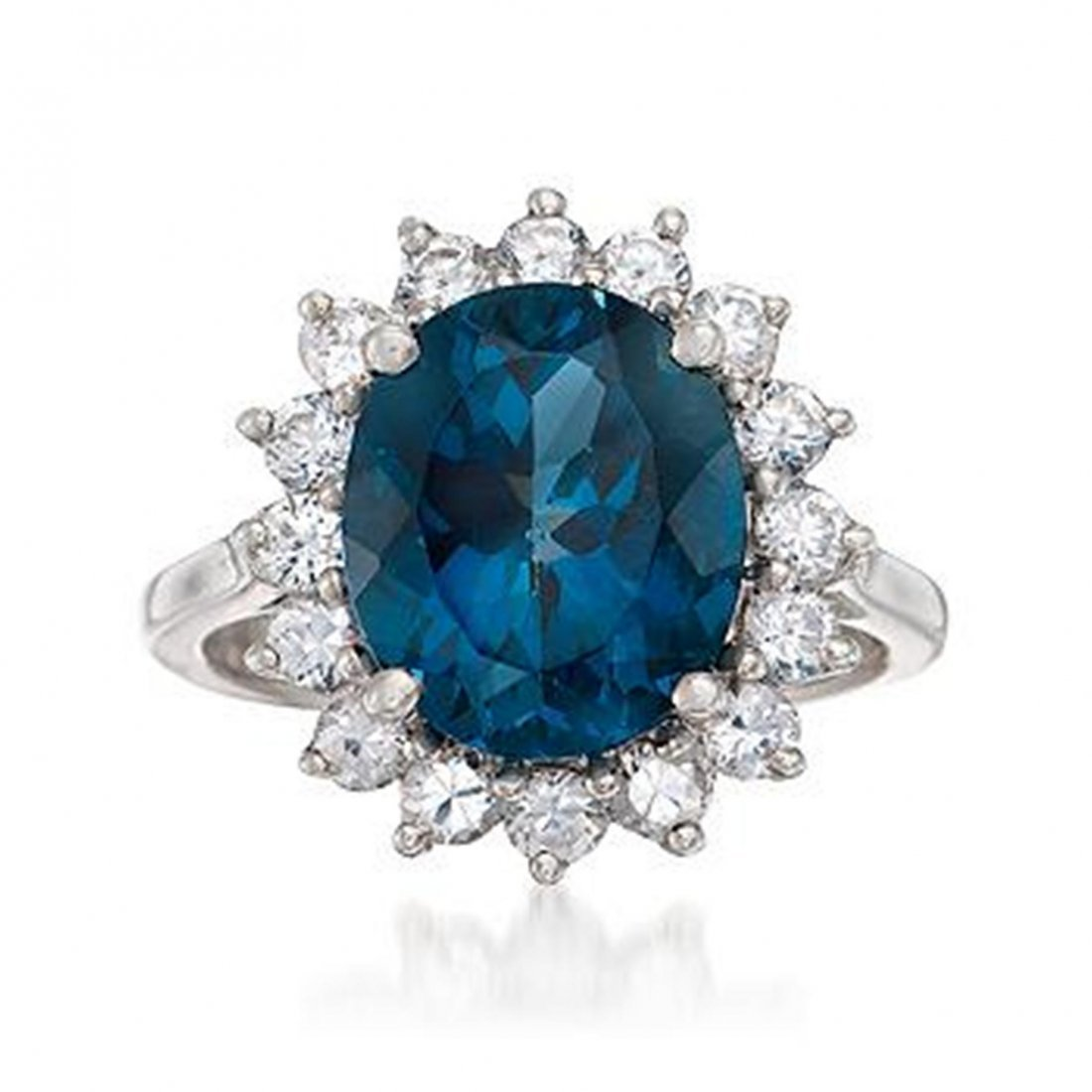 5.40 Carat London Blue Topaz and 1.10 ct. t.w. White To