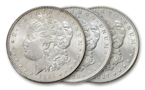 1885,6,7 Comstock Lode Silver Dollars