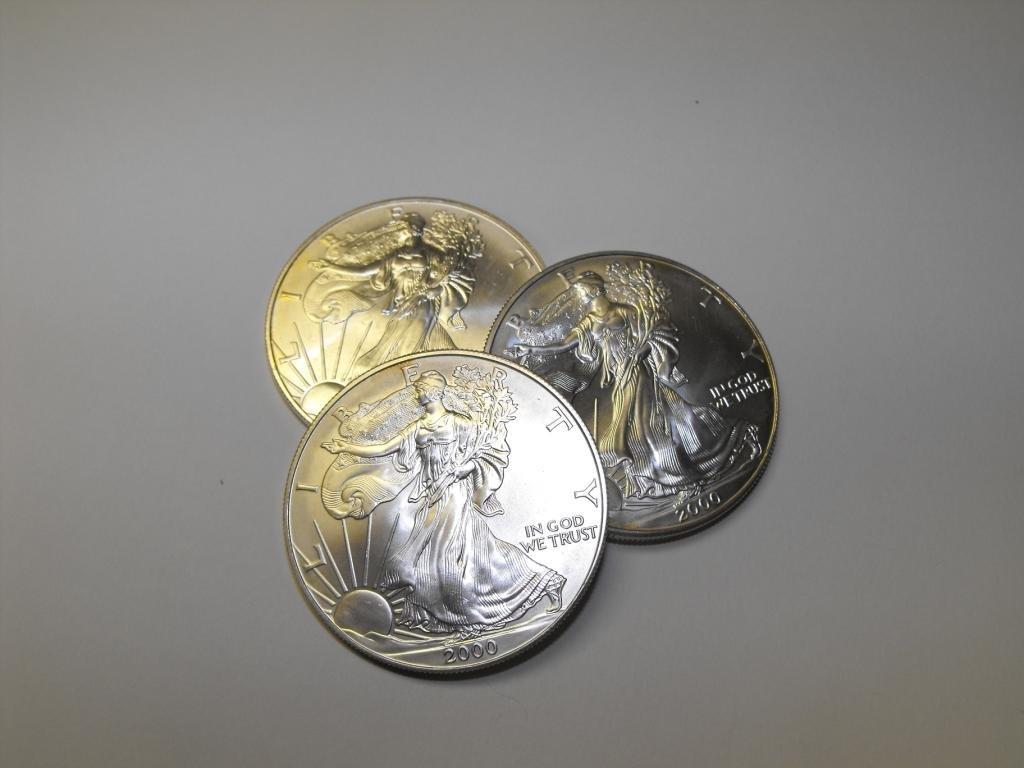 Lot of (3) Random Date Silver Eagles
