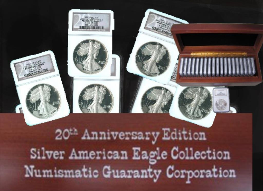 20TH ANNIVERSARY  US SILVER EAGLE PROOF MS69 SET