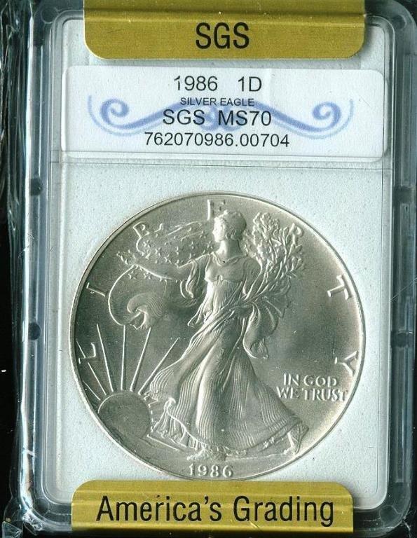 1986 MS 70 US SILVER EAGLE
