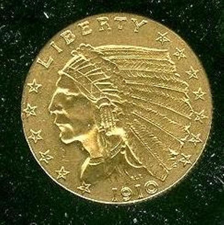 1910 $ 2.5 Gold Indian Higher Grade