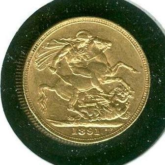 1891 British Full Sovereign - Jubilee Head