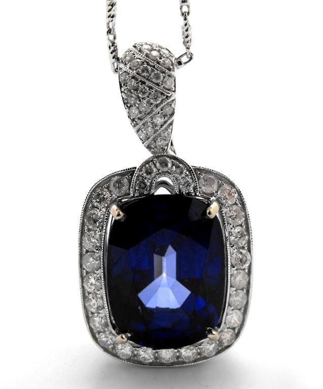 E- ULTRA FINE 30.58 ct Sapphire Pendant 14k WG