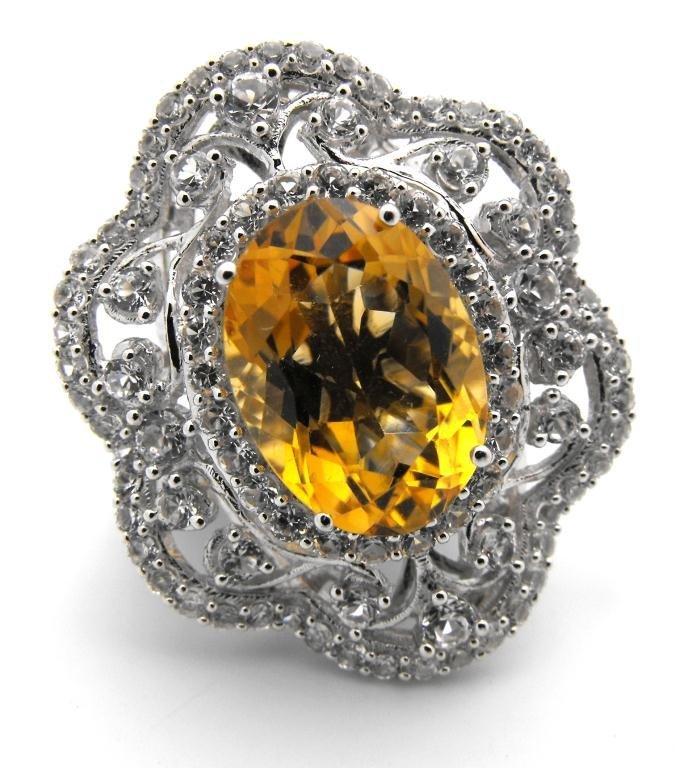 E- $5,532 Fancy Citrine & Sapphire Ring S/Silver