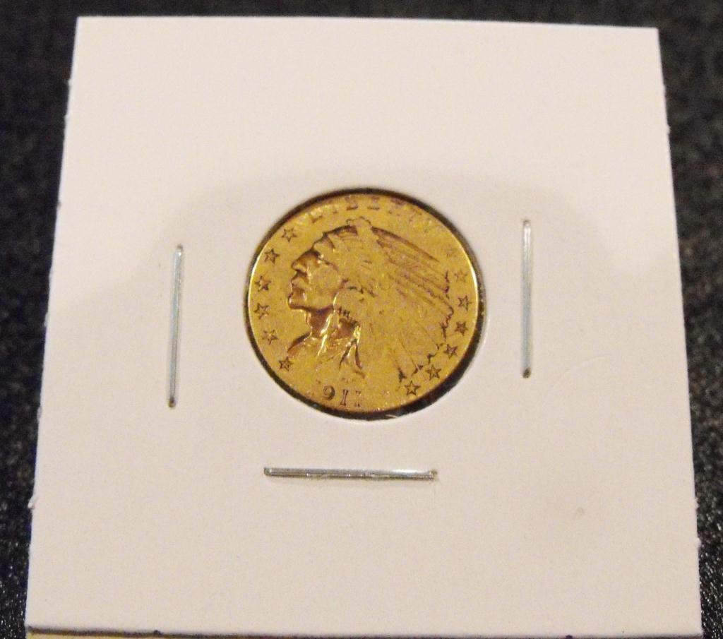 1911 P $ 2.5 Gold Indian US Coin