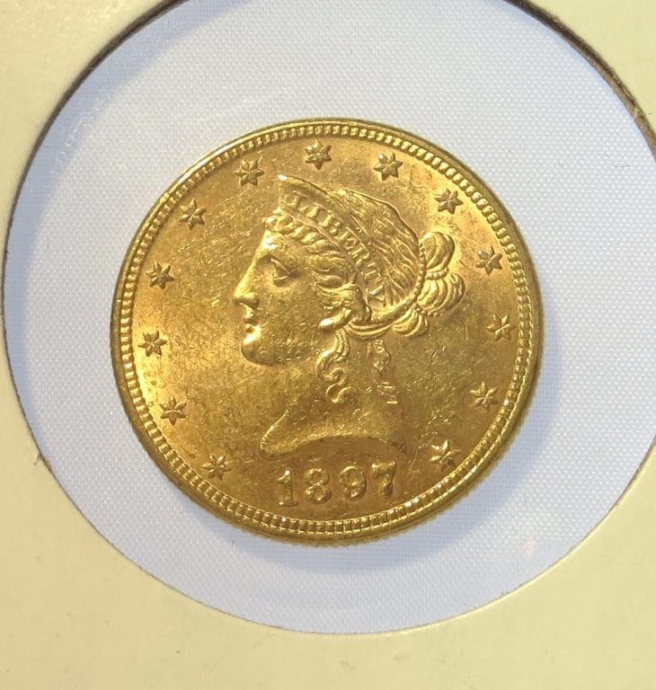 1897 $ 10 Liberty Gold Coin AU or Better