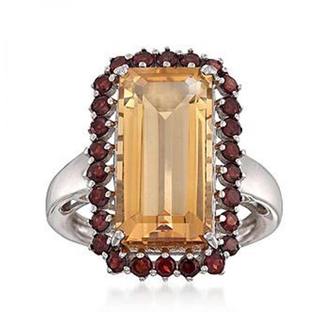 8.55 ct. t.w. Citrine and Garnet Ring in Sterling Silve