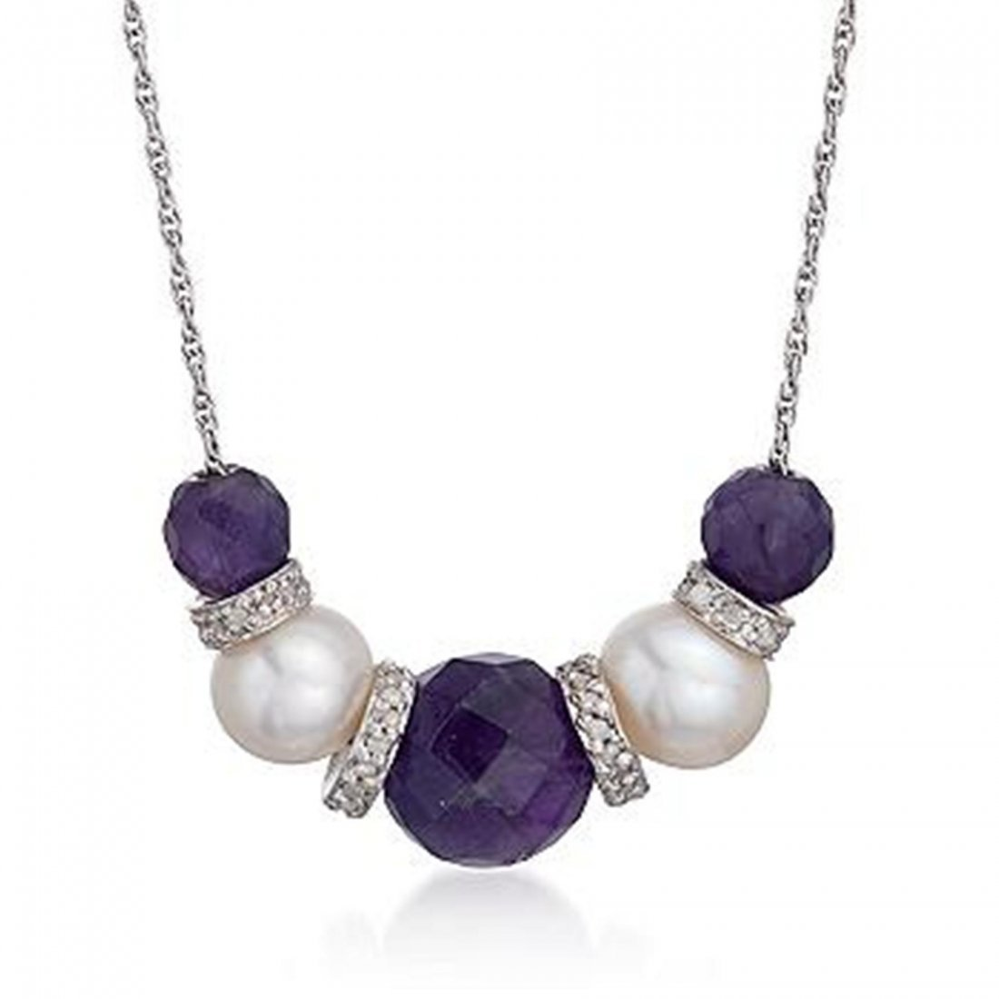 8.30 ct. t.w. Amethyst and Pearl Necklace With .25 ct.