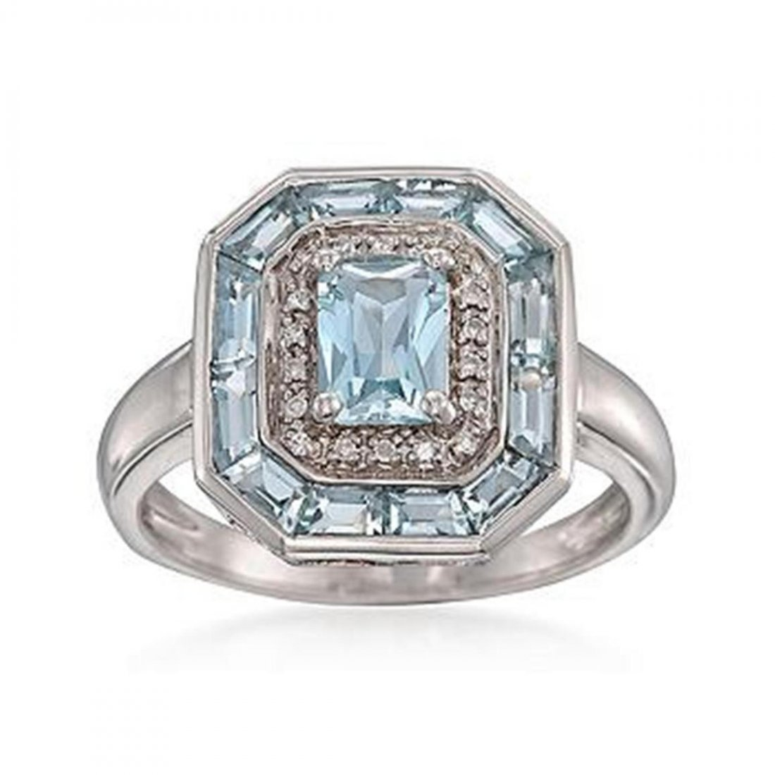 1.50 ct. t.w. Aquamarine Dinner Ring With Diamonds in S