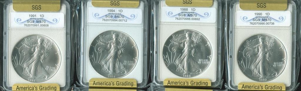 1988-90-91-94 MS 70 US SILVER EAGLES