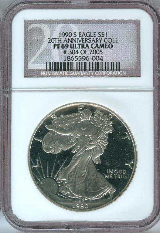 1990 S MS 69 Ultra Cameo Proof 20th ANN.