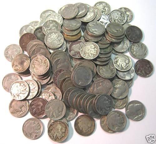 Lot of 100 Buffalo Nickels- No Date