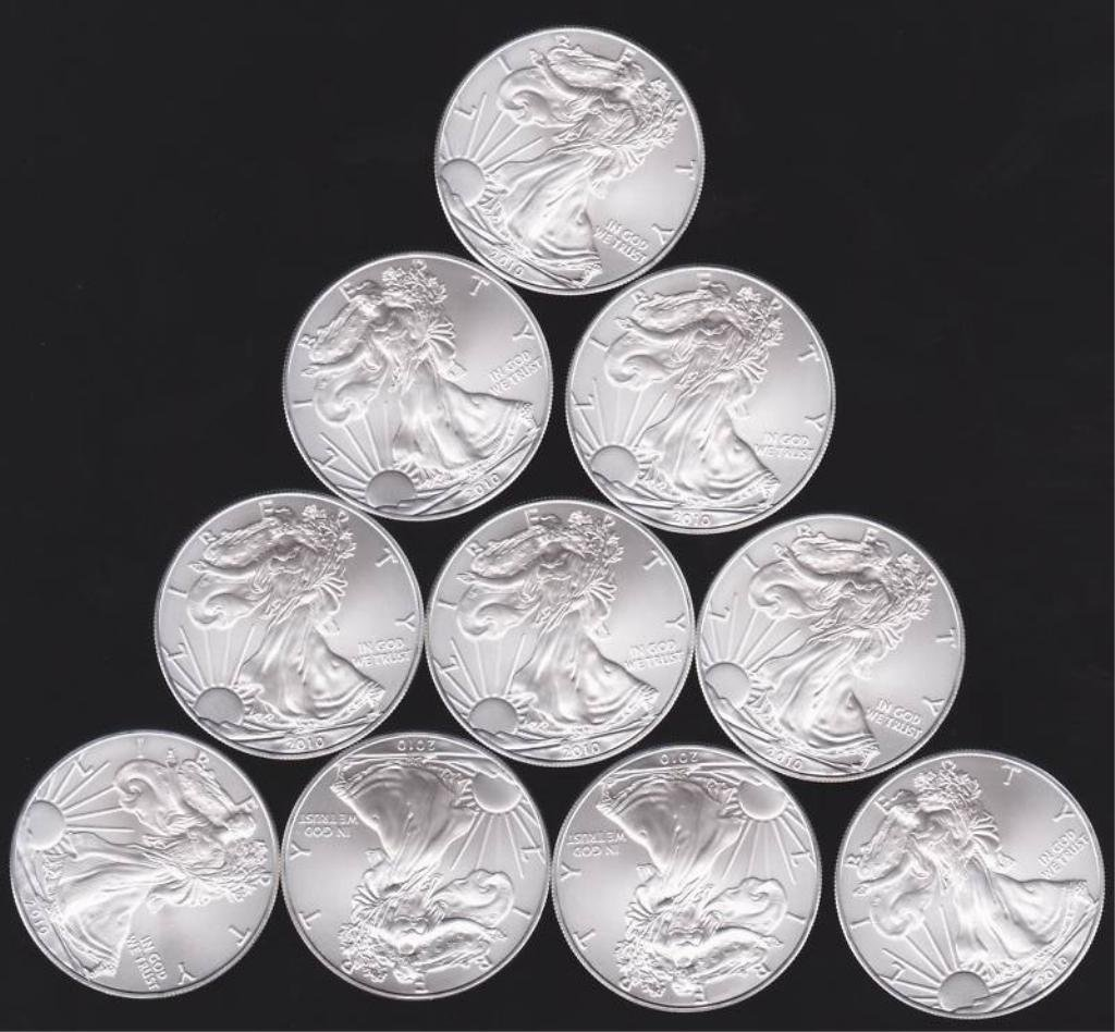 Lot Of 10 American Silver Eagles