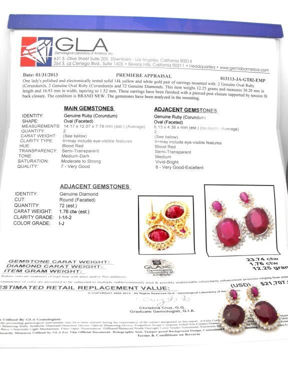 E- $21,707 Ruby & Diamond Earrings 14k YG - 3