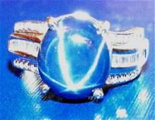 E 3190 Star Sapphire  Diamond Ring 14K WG