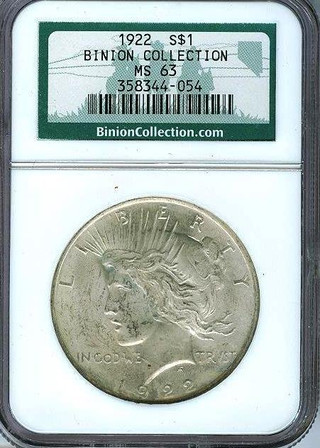 1922 MS 63 BINION Collection Peace Dollar