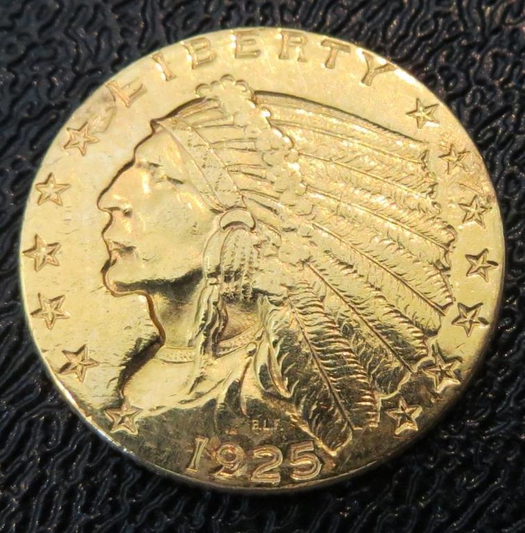 1925 P $ 2.5 Gold Indian