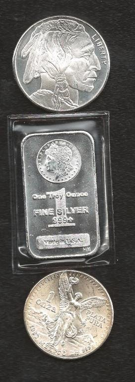 Lot of (3) 1 oz Silver Bullion Items- Bar & Rounds