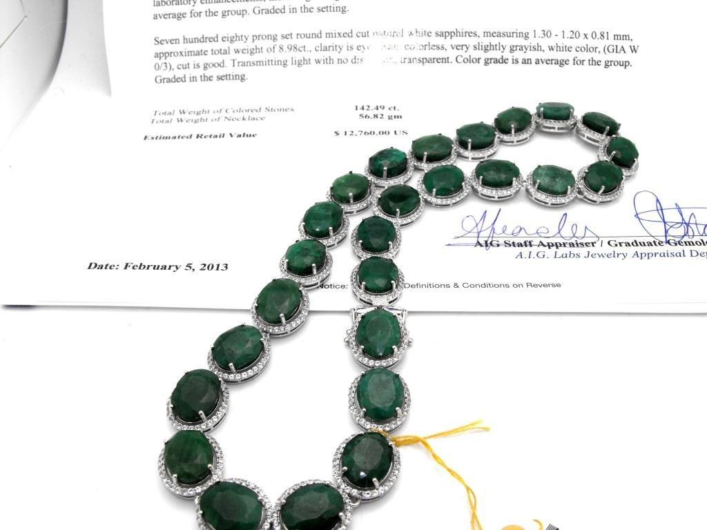E- $12,760 Emerald & Sapphire Necklace S/Silver