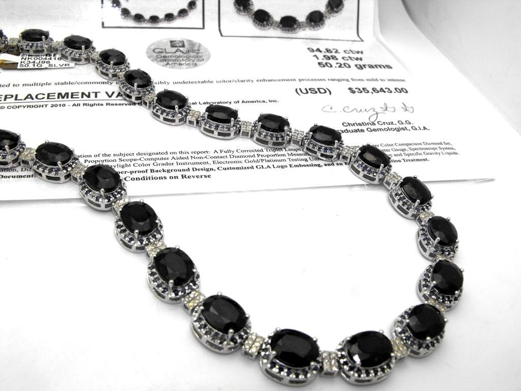 E- $35,643 Sapphire & Diamond Necklace S/S
